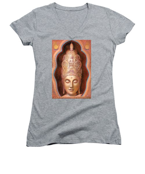 Healing Tara Women's V-Neck T-Shirt (Junior Cut) by Sue Halstenberg