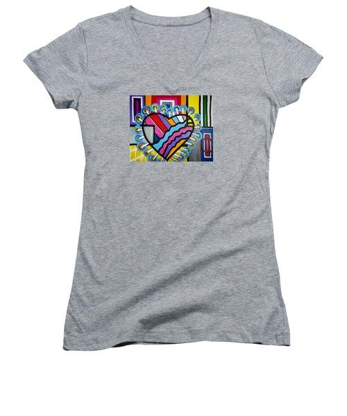 Heart Women's V-Neck T-Shirt (Junior Cut) by Jose Rojas
