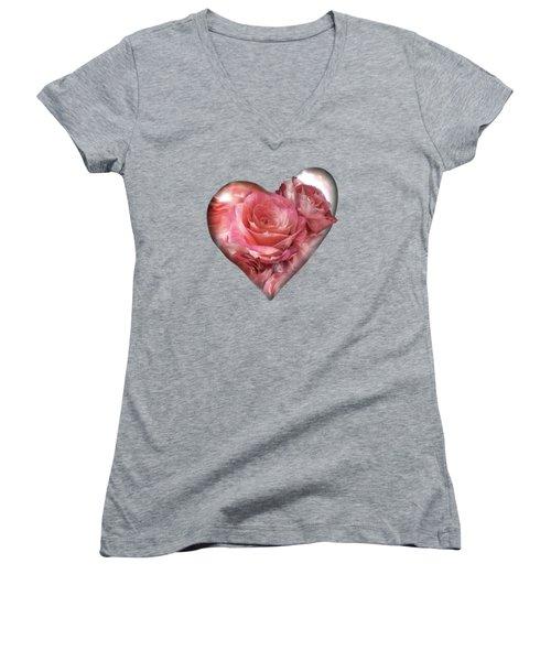 Heart Of A Rose - Melon Peach Women's V-Neck T-Shirt (Junior Cut) by Carol Cavalaris
