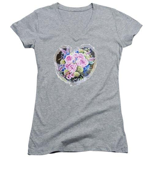 Heart Of Rose Women's V-Neck T-Shirt