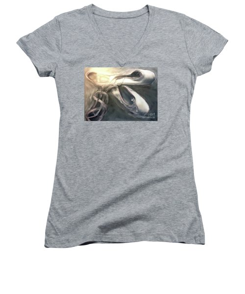 Women's V-Neck T-Shirt (Junior Cut) featuring the painting Heart Of The Dance by FeatherStone Studio Julie A Miller