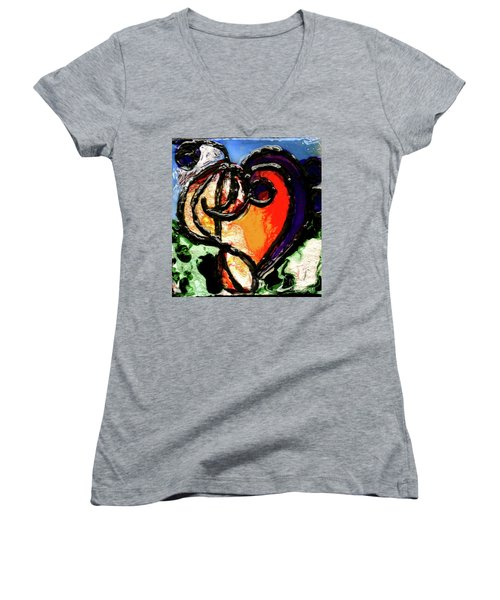 Women's V-Neck T-Shirt (Junior Cut) featuring the painting Heart Robin Treble by Genevieve Esson