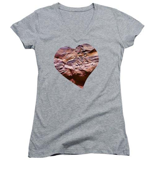 Heart Shape Stone Art Women's V-Neck T-Shirt (Junior Cut)