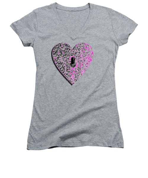 Heart Shaped Lock Pink .png Women's V-Neck T-Shirt (Junior Cut)