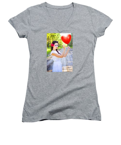 Women's V-Neck T-Shirt featuring the photograph Heartache And Heartbreak by Jorgo Photography - Wall Art Gallery