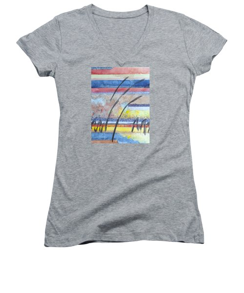 Women's V-Neck T-Shirt (Junior Cut) featuring the painting Heartbeat by Jacqueline Athmann