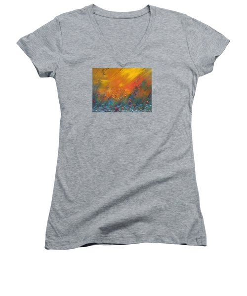 Women's V-Neck T-Shirt (Junior Cut) featuring the painting Heartland  by Dan Whittemore