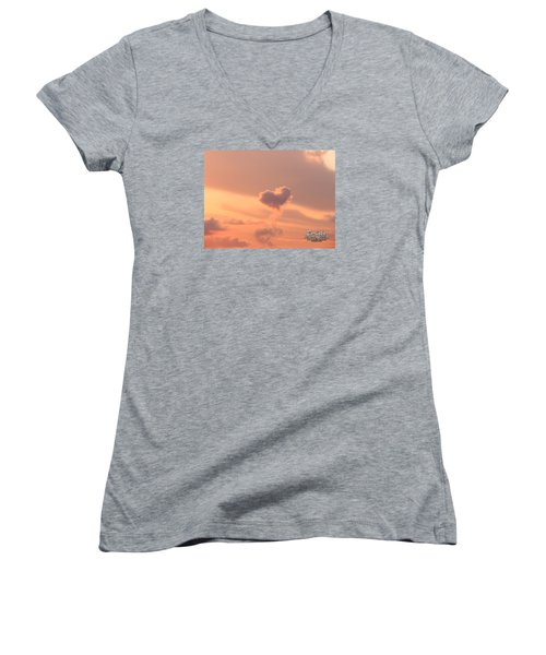 Women's V-Neck T-Shirt (Junior Cut) featuring the photograph Hearts In The Clouds by Barbara Tristan
