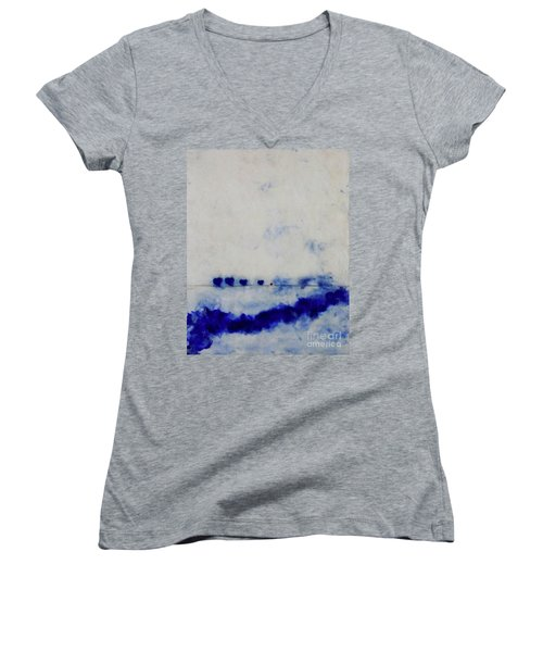 Women's V-Neck T-Shirt (Junior Cut) featuring the painting Hearts On A Wire by Kim Nelson