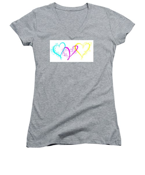 Hearts On White Women's V-Neck (Athletic Fit)