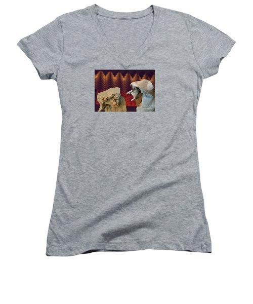 Heated Conversation Women's V-Neck T-Shirt (Junior Cut) by Lyric Lucas