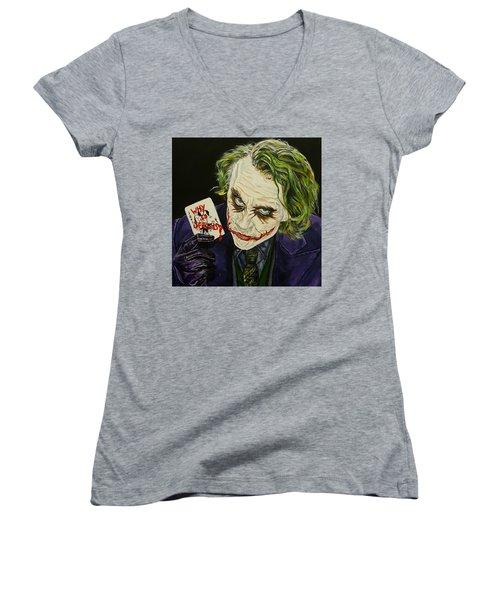 Heath Ledger The Joker Women's V-Neck T-Shirt (Junior Cut) by David Peninger