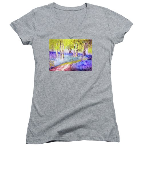 Heather Glade Women's V-Neck T-Shirt (Junior Cut) by Jasna Dragun