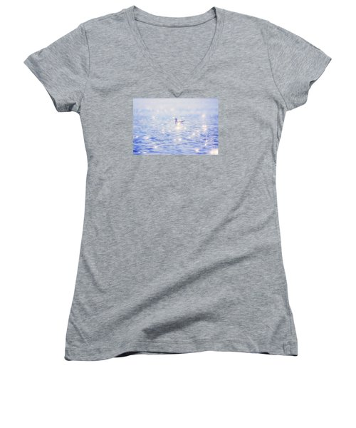 Women's V-Neck T-Shirt (Junior Cut) featuring the photograph Heaven On The Lake- Lake Mary Ronan  by Janie Johnson
