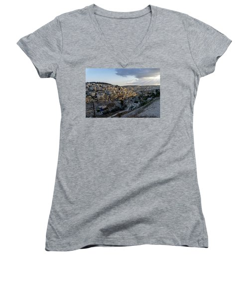 Heaven Shines On The City Of David Women's V-Neck