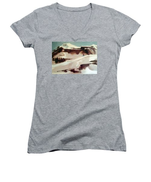 Women's V-Neck T-Shirt (Junior Cut) featuring the painting Heavenly by Ed Heaton