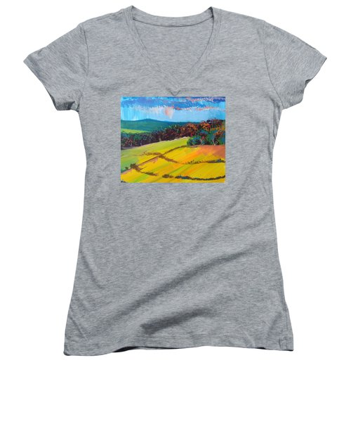 Heavenly Haldon Hills - Devon English Landscape Women's V-Neck