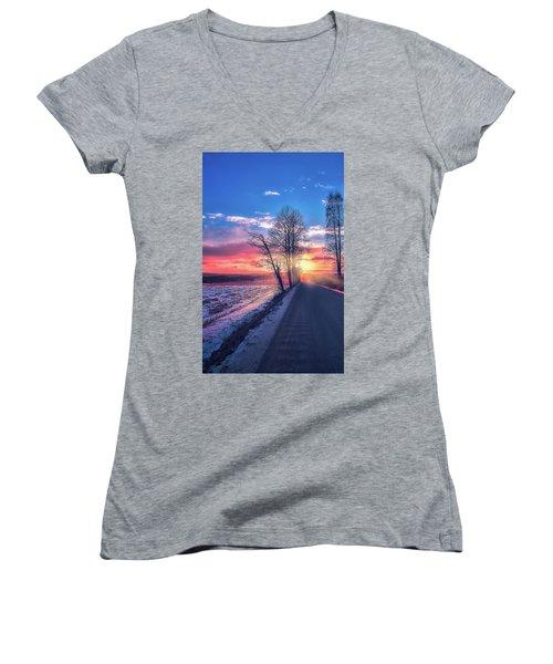Heavenly Journey Women's V-Neck T-Shirt (Junior Cut) by Rose-Marie Karlsen