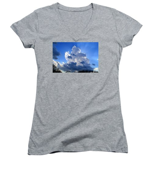 Women's V-Neck T-Shirt (Junior Cut) featuring the photograph Heavenly Sunlight by Kathryn Meyer
