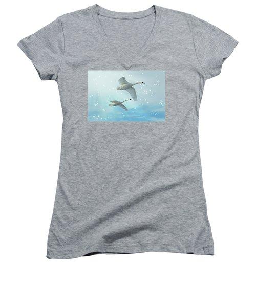 Heavenly Swan Flight Women's V-Neck