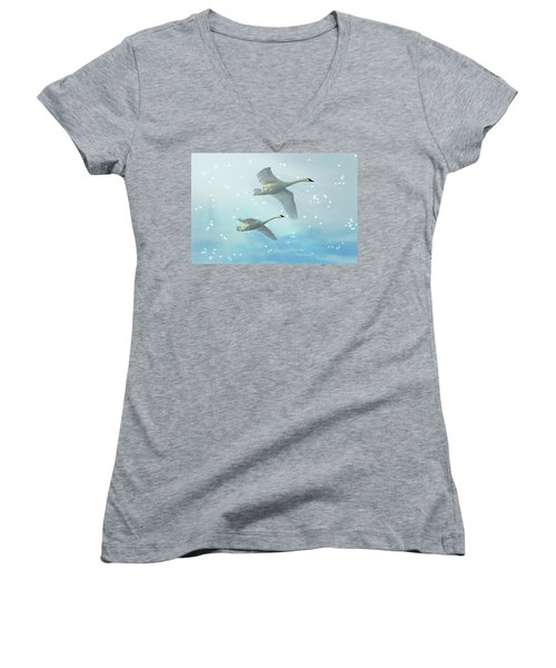Heavenly Swan Flight Women's V-Neck