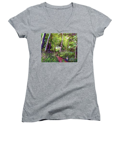 Women's V-Neck T-Shirt (Junior Cut) featuring the painting Heavenly Walk Among Birch And Aspen by Jane Small