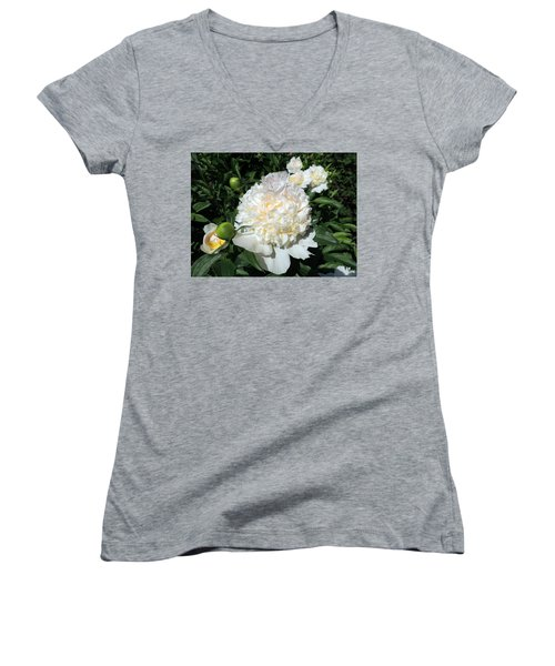 Women's V-Neck T-Shirt (Junior Cut) featuring the photograph Heavenly White by Teresa Schomig