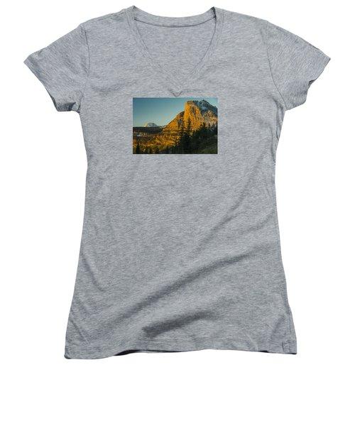 Heavy Runner Mountain Women's V-Neck T-Shirt (Junior Cut) by Gary Lengyel
