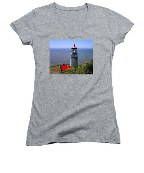 Women's V-Neck T-Shirt (Junior Cut) featuring the photograph Heceta Head Lighthouse by Wendy McKennon