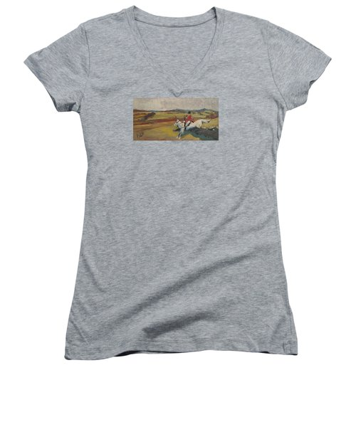 Women's V-Neck T-Shirt (Junior Cut) featuring the painting Hedge Hopping Britain by Nop Briex