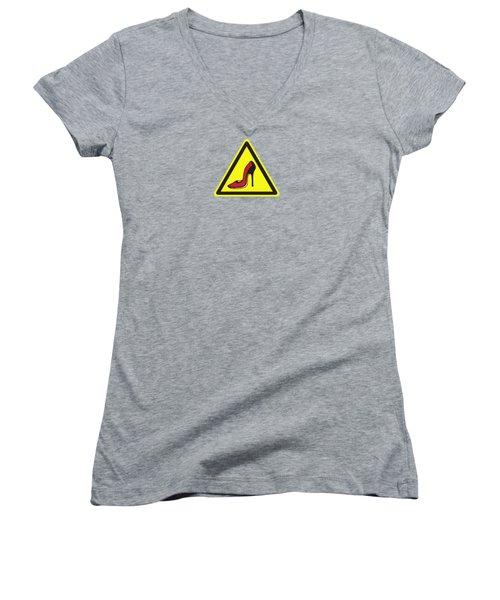 Heels Hazard Women's V-Neck T-Shirt (Junior Cut) by Stan  Magnan