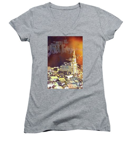 Women's V-Neck T-Shirt (Junior Cut) featuring the painting Heidelberg Sunset- Germany by Ryan Fox