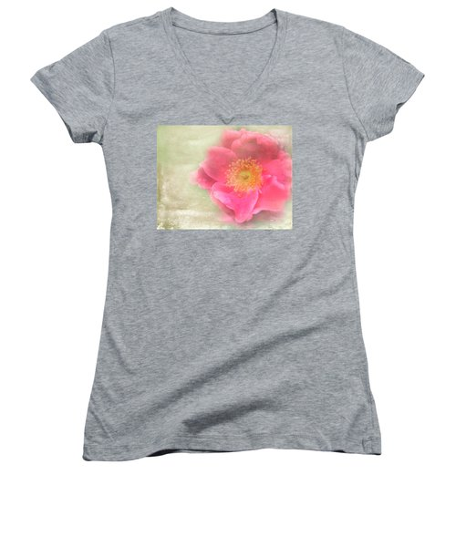 Heirloom Rose Women's V-Neck T-Shirt (Junior Cut) by Catherine Alfidi