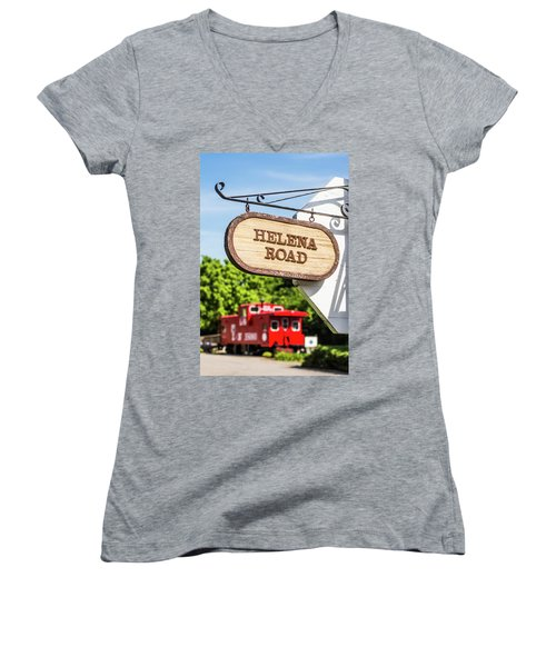 Women's V-Neck T-Shirt (Junior Cut) featuring the photograph Helena Road Sign by Parker Cunningham