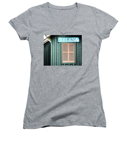 Women's V-Neck T-Shirt (Junior Cut) featuring the photograph Helena Sign On A Spring Day by Parker Cunningham