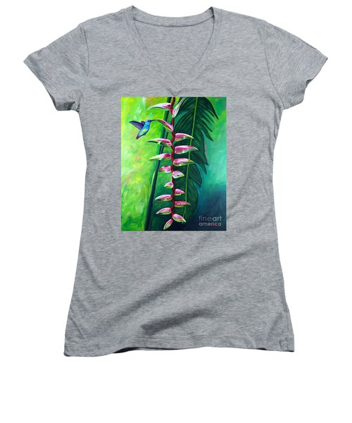 Heliconia Flower And Friend Women's V-Neck