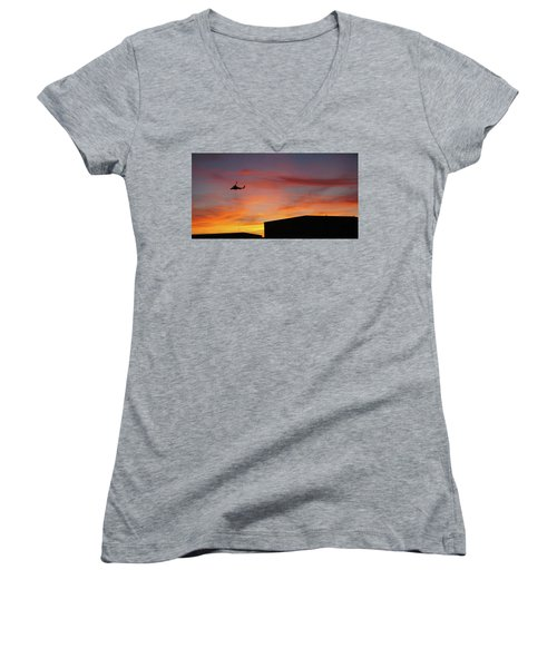 Women's V-Neck T-Shirt (Junior Cut) featuring the photograph Helicopter And The Sunset by Angi Parks