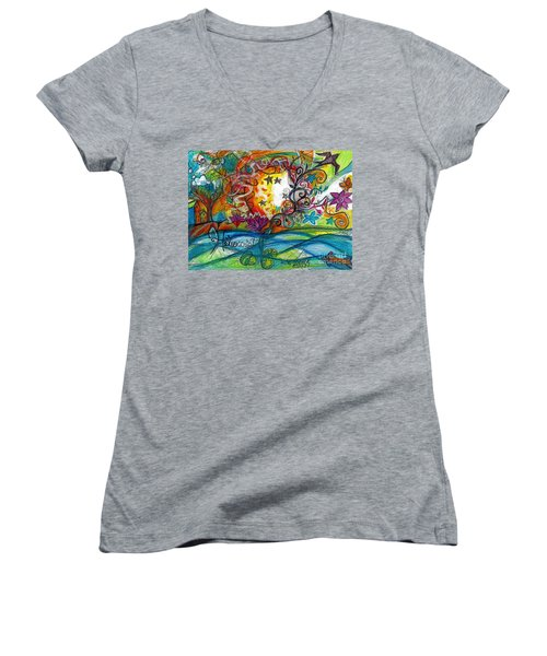 Women's V-Neck T-Shirt (Junior Cut) featuring the painting Helios And Ophelia Posterized by Genevieve Esson