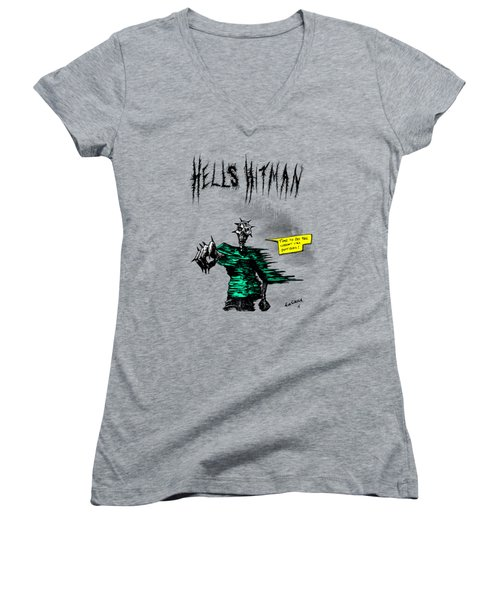 Women's V-Neck T-Shirt (Junior Cut) featuring the drawing Hells Hitman by Kim Gauge