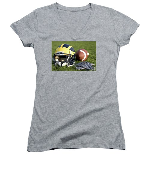 Helmet On The Field With Football And Gloves Women's V-Neck (Athletic Fit)