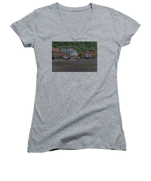 Women's V-Neck T-Shirt (Junior Cut) featuring the photograph Help 4 by Timothy Latta