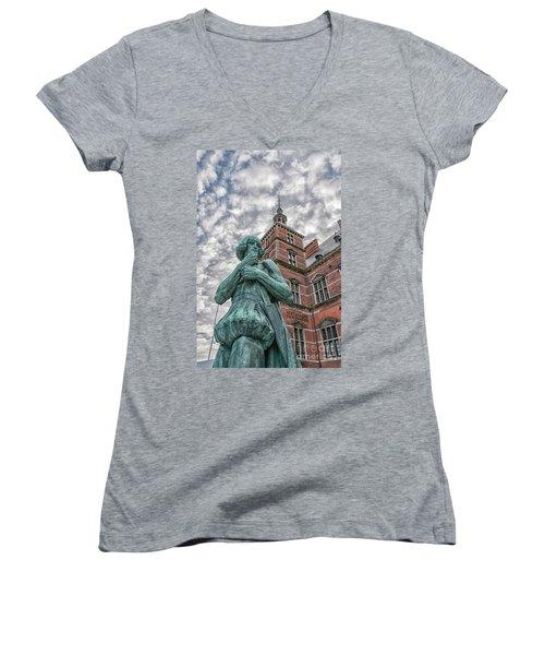 Women's V-Neck T-Shirt (Junior Cut) featuring the photograph Helsingor Train Station Statue by Antony McAulay