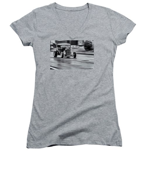 Hemi Powered 1932 Ford 5 Window Coupe Women's V-Neck T-Shirt (Junior Cut) by Ken Morris