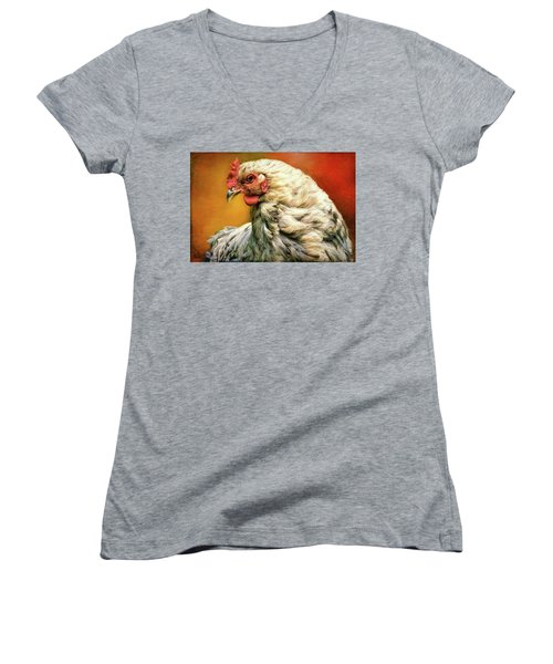 Women's V-Neck T-Shirt featuring the photograph Hen Rules by Bellesouth Studio