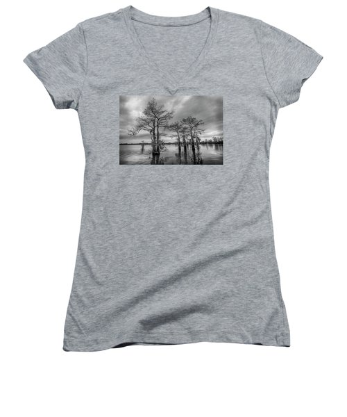 Henderson Swamp Wetplate Women's V-Neck T-Shirt (Junior Cut) by Andy Crawford