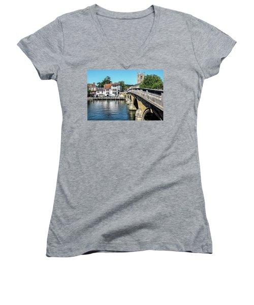 Henley And The Angel On The Bridge Women's V-Neck T-Shirt (Junior Cut) by Ken Brannen