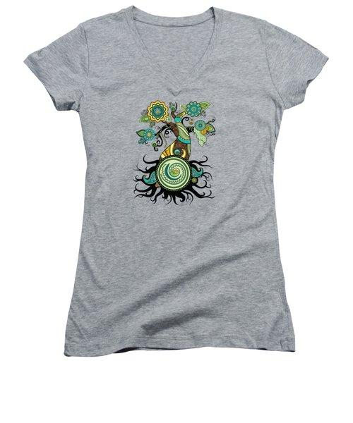 Henna Tree Of Life Women's V-Neck T-Shirt (Junior Cut) by Serena King