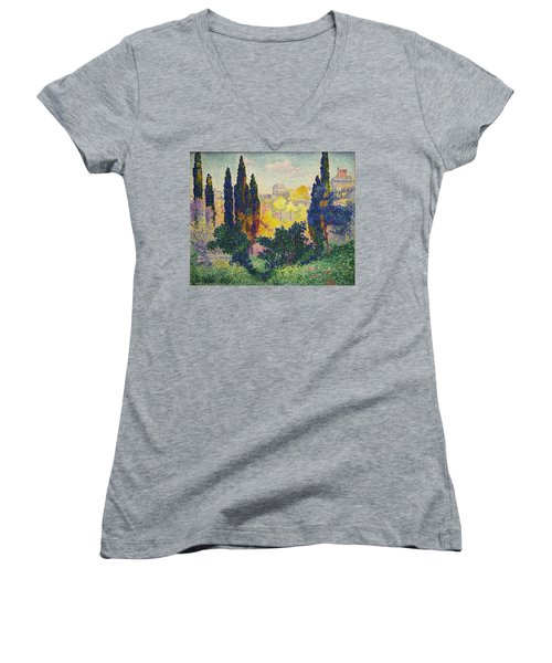 Henri Edmond Cross French Les Cypres A Cagnes Women's V-Neck