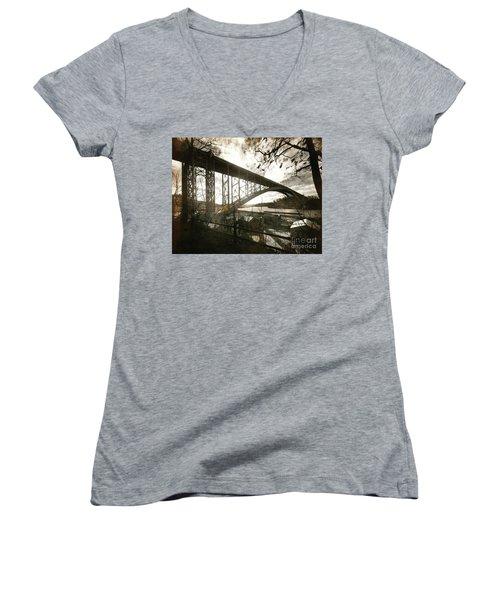 Henry Hudson Bridge, 1936 Women's V-Neck T-Shirt (Junior Cut) by Cole Thompson