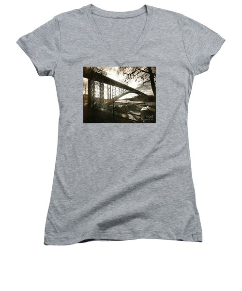 Henry Hudson Bridge, 1936 Women's V-Neck T-Shirt